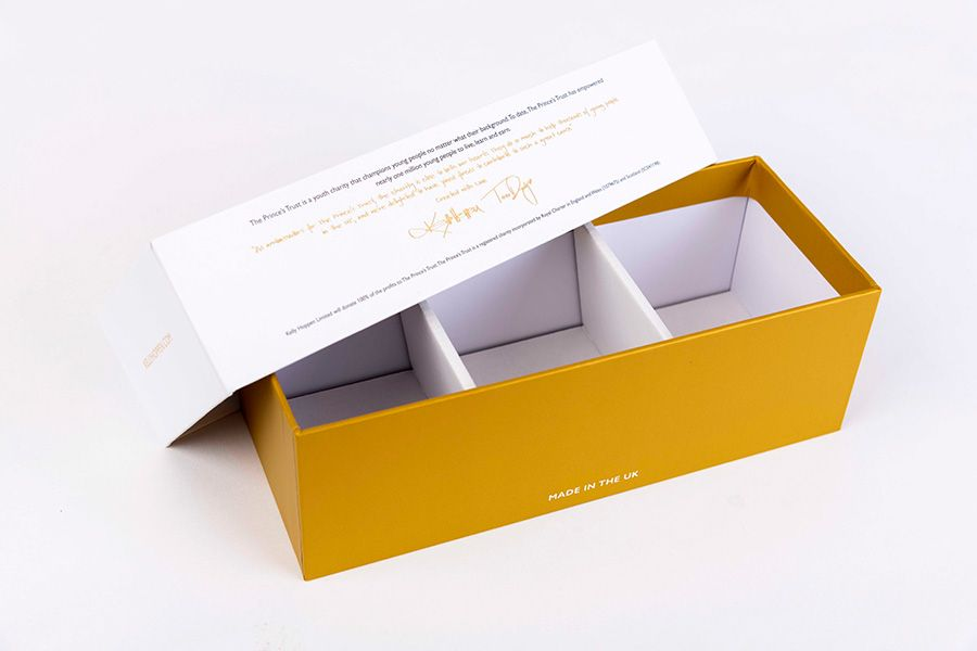 Back view of Rigid candle box with card insert making three compartments