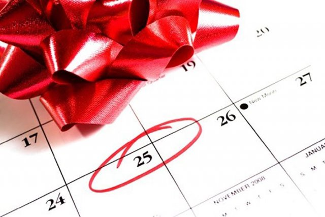 Christmas Calendar with the 25th circled in red pen