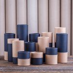 Cardboard tubes with contrasting colours of lid and base